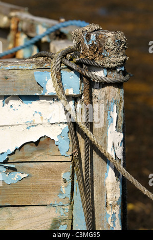 Detail image of the bow of an old fishing boat - Stock Image