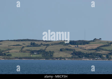 Moraine hills and Vejrhøj Buen seen from the sea, - Stock Image