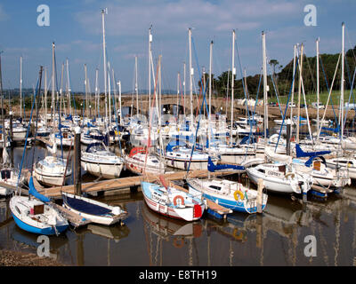 Yachts moored at the Axe Yacht Club, Seaton, Devon, UK - Stock Image