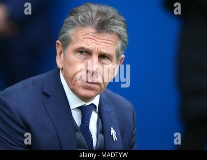 Leicester manager Claude Puel during the Premier League match between Brighton and Hove Albion and Leicester City at the American Express Community Stadium in Brighton and Hove. 31 Mar 2018 *** Editorial use only. No merchandising. For Football images FA and Premier League restrictions apply inc. no internet/mobile usage without FAPL license - for details contact Football Dataco *** - Stock Image