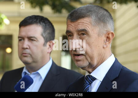Prague, Czech Republic. 28th June, 2019. Czech Prime Minister Andrej Babis (ANO), right, and Social Democrat (CSSD) leader Jan Hamacek, left, speak to journalist after their meeting over dismissal of Culture Minister Antonin Stanek, demanded by the Social Democrats, in Prague, Czech Republic, on June 28, 2019. Credit: Ondrej Deml/CTK Photo/Alamy Live News - Stock Image