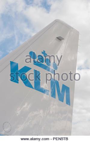 Southampton UK Tailfin of a KLM Embraer aircraft - Stock Image