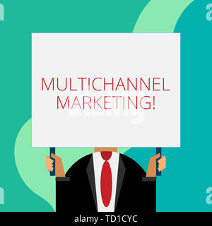 Handwriting text writing Multichannel Marketing. Conceptual photo for a consumer to buy from whatever way is easier Just man chest dressed dark suit t - Stock Image