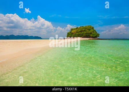 Beauty beach with yellow sand and crystal clear water in Thailand - Stock Image