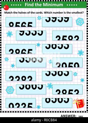 Math visual puzzle: Find the minimum. Match the halves of the cards. Which number is the smallest? Answer included. - Stock Image