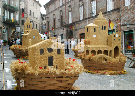 Colorful,Cosumed Traditional Basket,the Canestralle ,festival  in Amandola, Le Marche, Italy - Stock Image
