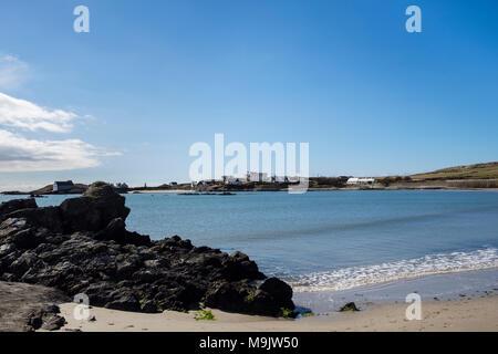 View across Borthwen beach. Rhoscolyn, Holy Island, Isle of Anglesey, North Wales, UK, Britain, Europe - Stock Image