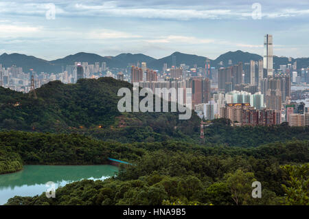 View of the Hong Kong skyline as seen from Kam Shan, Kowloon - Stock Image