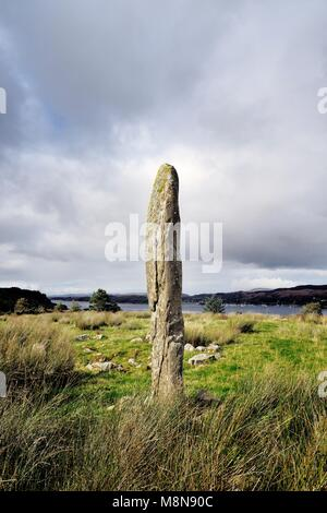 Kintraw prehistoric megalith standing stone at the head of Loch Craignish south of Oban, Argyll, Scotland. Solstice - Stock Image