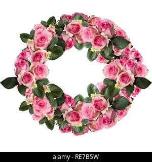 Beautiful pink and white rose wreath with leaves arranged and isolated over a white background. Image shot from top view. - Stock Image