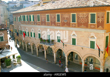 .  exquisite painted facade typical of  the outstanding architecture in the beautiful city of Ascoli Piceno, Le Marche,Italy - Stock Image