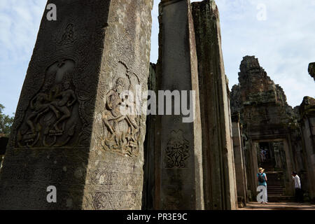 Bayon Temple ruins in Angkor Wat. The Angkor Wat complex, Built during the Khmer Empire age, located in Siem Reap, Cambodia, is the largest religious  - Stock Image