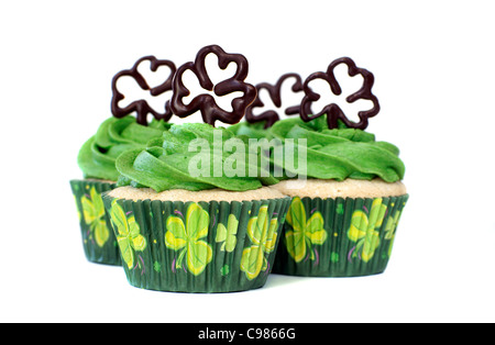 Vanilla cupcakes decorated for the Irish traditional St. Patrick's Day - Stock Image