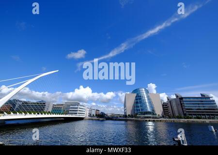 The Convention Centre Dublin and Samuel Beckett Bridge on Liffey River, Dublin, Republic of Ireland, Europe - Stock Image