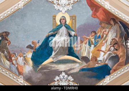 CATANIA, ITALY - APRIL 6, 2018: The fresco of Immaculate Conception in church Basilica Maria Santissima dell'Elemosina by Giuseppe Sciuti (1896). - Stock Image