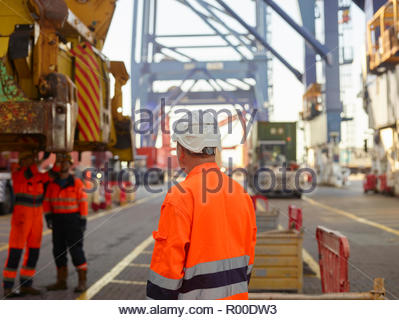 Dock worker in hardhat at Port of Felixstowe, England - Stock Image