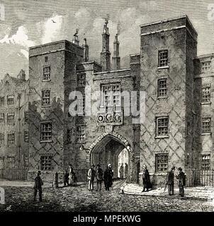 Lincoln's Inn Gate, Chancery Lane, London England UK. 19th century Victorian engraving circa 1878 - Stock Image