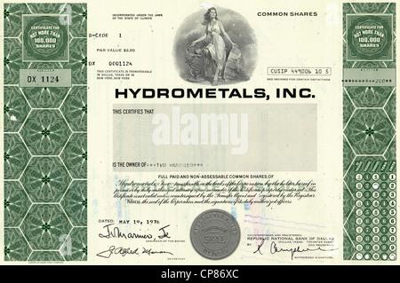 Historic share certificate, Hydrometals Inc., precious metals, aluminum, New York, 1976, USA, Historische Aktie, - Stock Image