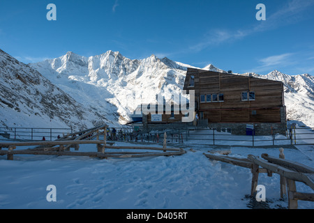Mountain Station plattjen cable car station above saas fee, swiss alps, valais, switzerland - Stock Image