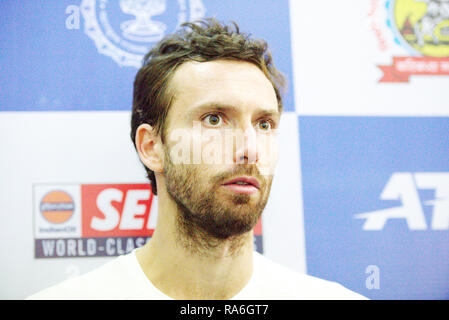 Pune, India. 2nd January 2019. Ernests Gulbis of Latvia talks to the press after winning his second round match of the singles competition at Tata Open Maharashtra ATP Tennis tournament in Pune, India. Credit: Karunesh Johri/Alamy Live News - Stock Image