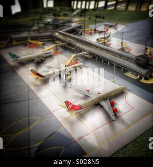Scale model of an airport scene - Stock Image