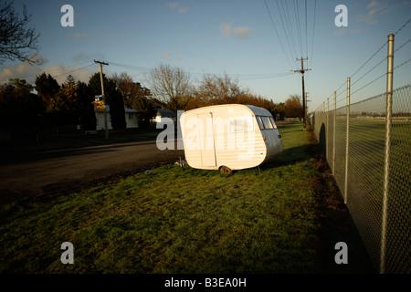 Very small caravan New Zealand - Stock Image