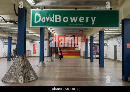 New York, USA. 121 April, 2018. Images of David Bowie on the mezzanine level of the Broadway-Lafayette subway station.  The installation, sponsorsed  by Spotify, is being held in conjunction with the exhibition 'David Bowie IS' at the Brooklyn. The subway installation is just blocks from where the late rock star lived in Soho. The art will be on display until mid May. ©Stacy Walsh Rosenstock - Stock Image