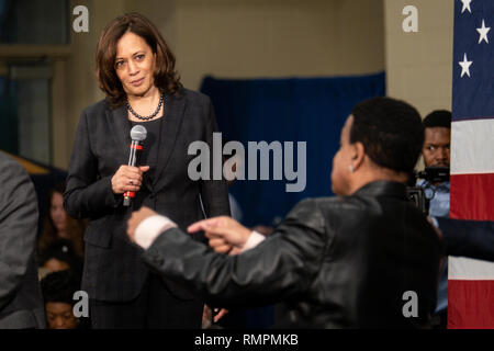 North Charleston, United States. 15th Feb, 2019. Senator Kamala Harris answers a question from the audience during a town hall event on the campaign for the Democratic nomination for president February 15, 2019 in North Charleston, South Carolina. South Carolina is the first southern democratic primary for the presidential race. Credit: Planetpix/Alamy Live News - Stock Image