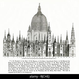 Key to buildings in Principal Buildings by Sir Christopher Wren. - Stock Image
