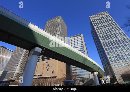 Japan, Osaka, skyline, skyscrapers, expressway, - Stock Image