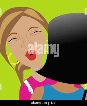 Two women greeting each other with an air kiss, illustration - Stock Image