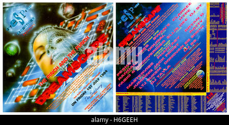 'Dreamscape XI The Pinch and the Punch' 1 July 1994 rave flyer (image shows the front of the flyer on the left, - Stock Image