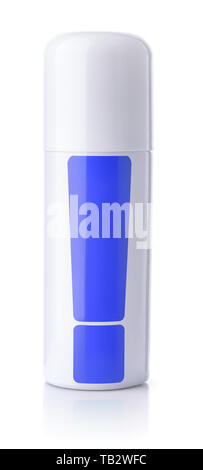 Front view of closed metal  spray bottle can isolated on white - Stock Image