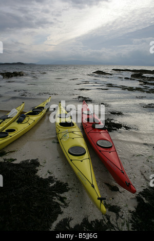 Sea kayaking boats in Applecross Wester Ross Scotland Picture by Ashley Coombes/Epicscotland - Stock Image