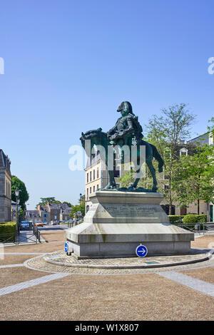 Statue of Baston Comte de Lariboisiere in Fougères, Brittany, France - Stock Image