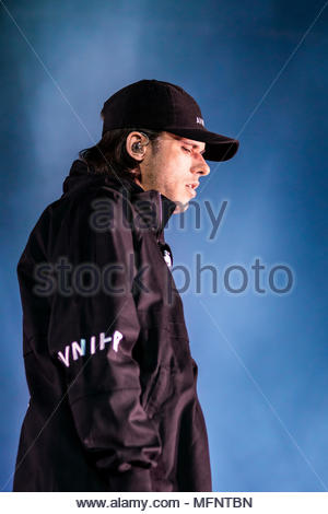 Orelsan performing live at the first edition of MUSILAC Mont-Blanc music festival in Chamonix (France) - 20 April 2018 - Stock Image