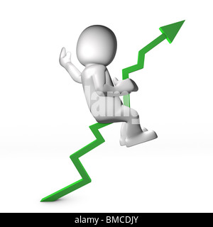 Man ridding green arrow chart going up - Stock Image