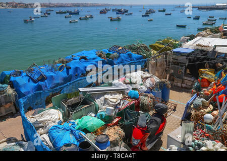 Lobster and shellfish traps in the port of Cascais, Portugal - Stock Image
