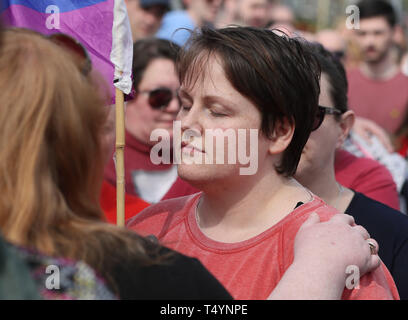 Sara Canning, the partner of 29-year-old journalist Lyra McKee at a rally in Londonderry, Northern Ireland, following her death last night after guns were fired and petrol bombs were thrown in what police are treating as a 'terrorist incident'. - Stock Image