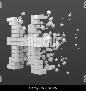 pisces zodiac sign shaped data block. version with white cubes. 3d pixel style vector illustration. suitable for blockchain, technology, computer and - Stock Image