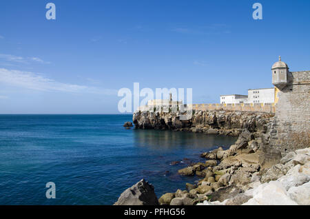 Walls of Peniche fort facing the blue ocean. Portugal. - Stock Image