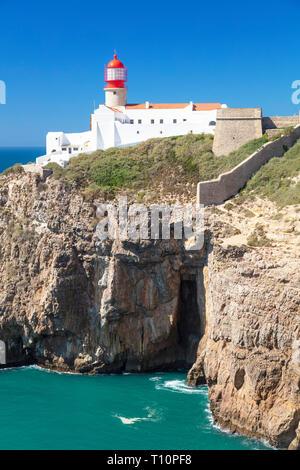 Cape St Vincent Lighthouse Cape St Vincent Sagres Portugal Algarve Portugal EU Europe - Stock Image