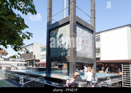 Clock tower in Town Square, Stevenage, Hertforshire - Stock Image