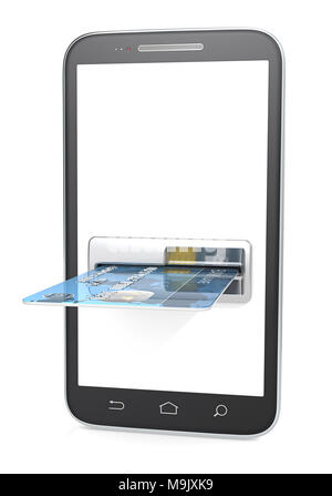 Smartphone with Credit Card Slot, ATM. Blank for copy space. 3d render. - Stock Image