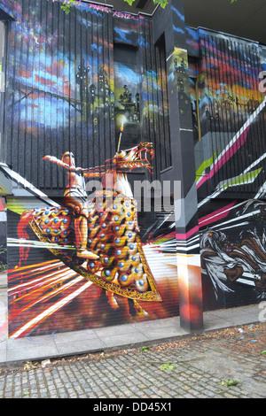 Street Art, fantasy knight on horseback on Nelson Street in Bristol - Stock Image