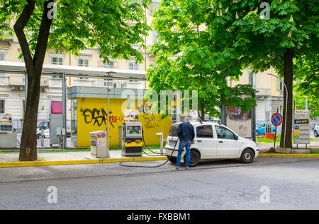 Kerb side fuel station, Piedmont, Italy - Stock Image