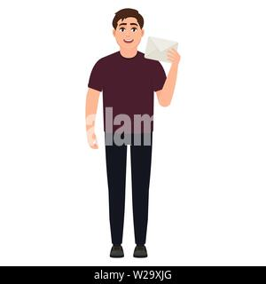 The guy holds a white postal envelope, the man received a letter, cartoon character vector illustration - Stock Image