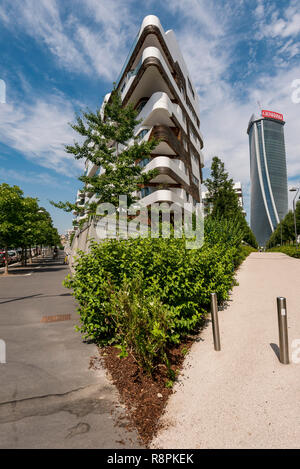 Vertical view of the Hadid residences in Milan, Italy. - Stock Image