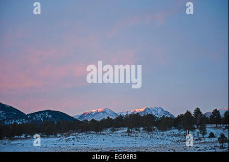 Rocky Mountain National Park, sunset, winter, Landscape, snow, - Stock Image