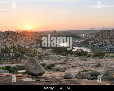 Virupaksha temple in the distance along the  Tungabhadra river in Hampi  South India - Stock Image